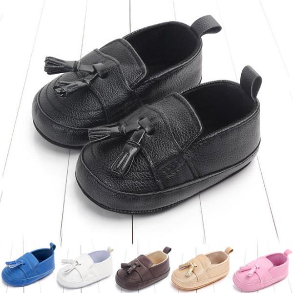 Sapatas de bebê infantil meninas borla macio primeiro caminhantes sapato moda novas crianças não-slip confortável sapatos casuais menino sapatos fit 0-1 T F9760