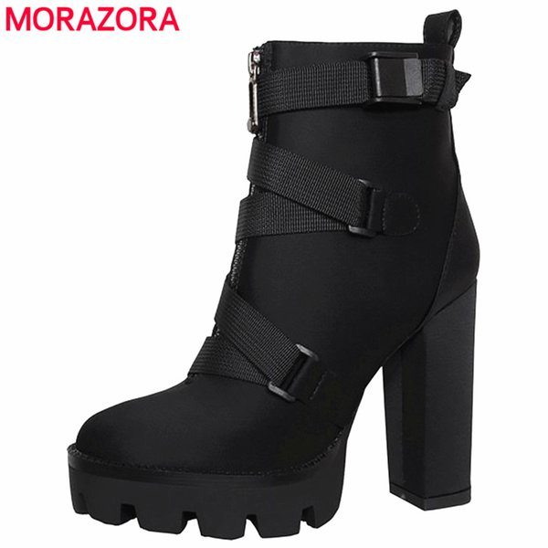 MORAZORA 2020 новое поступление ботильоны женщины осень зима высокие каблуки сапоги на платформе на молнии пряжки сексуальные ну вечеринку выпускного вечера обувь женская