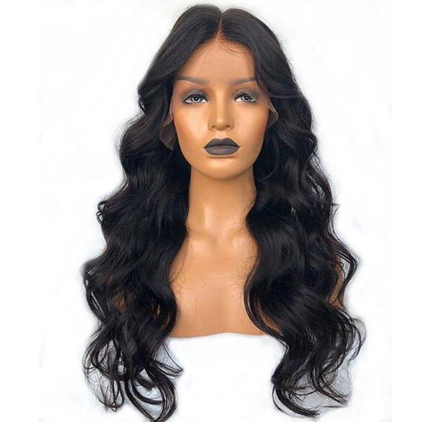 Free Shipping 180% Density Black Long Body Wave Wigs with Baby Hair Heat Resistant Fiber Glueless Synthetic Lace Front Wigs for Black Women