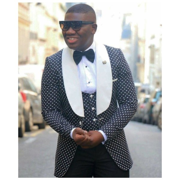 Black Groom Suits With White Shawl Lapel Wedding Tuxedos for Men Slim Fit Prom / Business Men Suits (Jacket+Pants+Bow+Vest)