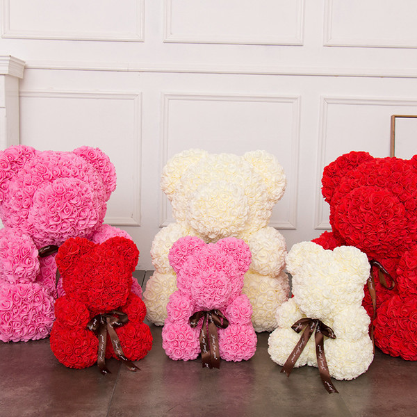 Rose Bear Anniversary Birthday Graduation Love Gifts Flower Artificial Christmas Gifts for Women Valentine's Day Gift