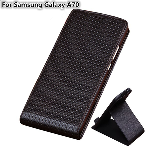 QX03 Lüks Hakiki Deri Dikey Çevir Telefon Kılıfı Için Samsung Galaxy A70 Samsung Galaxy A70 Dikey Çevir Kılıf