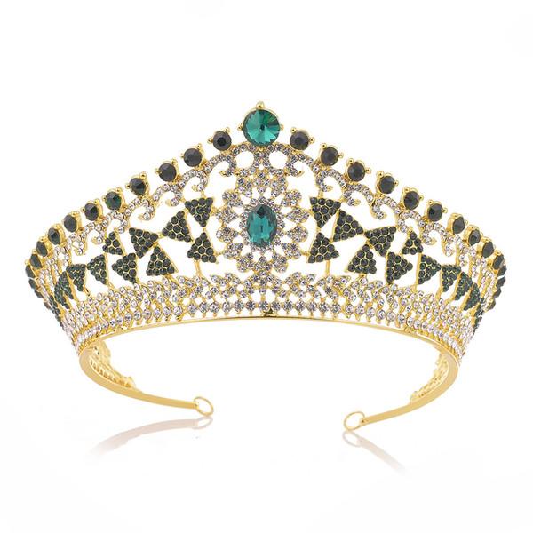 Di lusso tondo di cristallo strass nozze diademi accessori per capelli da sposa corona principessa per torta topper festival regalo di promenade del partito