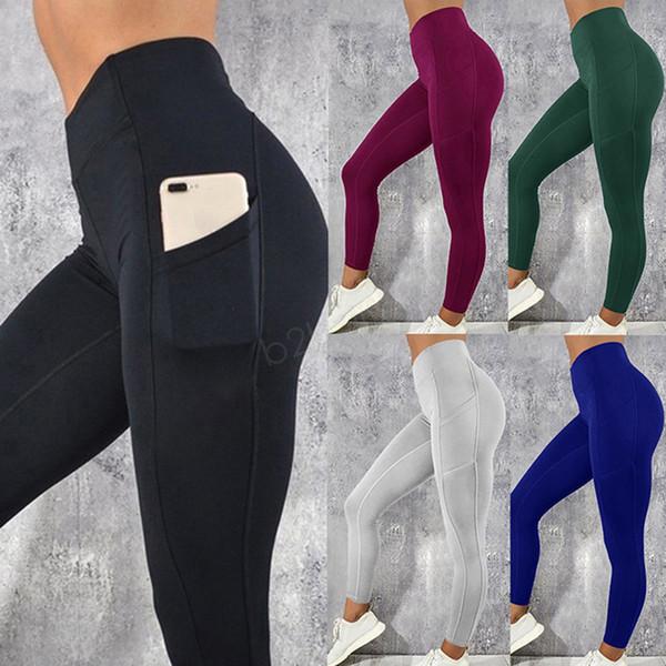 Cep Egzersiz Ile kadın Legging Yoga Spor Sıska Tayt Spor Salonu Spor Streç Fit Katı Koşu Ince Pantolon Dipleri LJJA2867