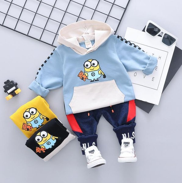 2019 Style Childrens Sport Sets Kids Sets 1-4T Kids Hoodies Pants 2Pcs/sets Boys And Girls 90% Cotton Eagle Printing Style Spring suits