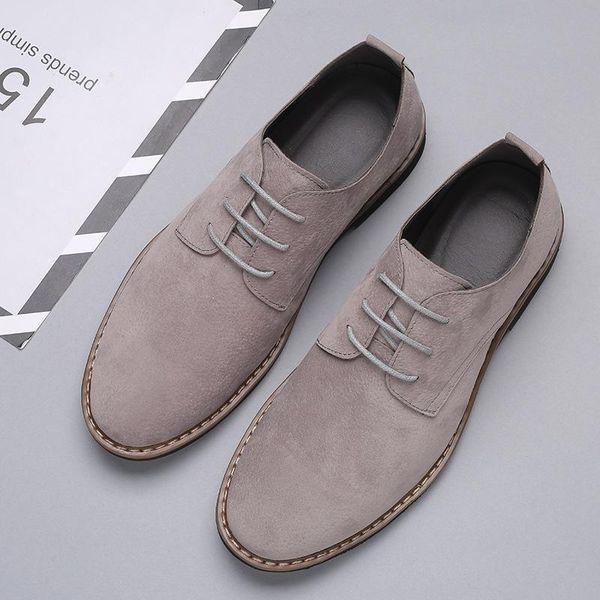 chaussures en cuir daim résistant à l'usure à la mode, unique dentelle de chaussures pour hommes confortables chaussures pour hommes L11