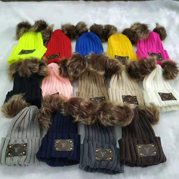 Unisex Kids Knitted Hats Autumn Winter Fur Poms Skull Caps Kids Fedora Knit Warm Crochet Hat Outdoor Hip Hop Cap Trendy Ear Muff