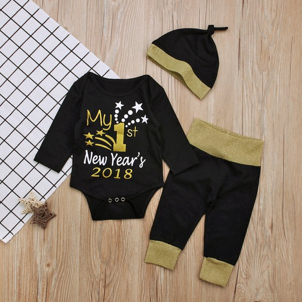 2018 New Year My First Christmas Outfits For Baby Boy Girls Set Family Clothes Kids Long Sleeve Romper+Pant+Hats 3Pcs Set Suits Y18120801