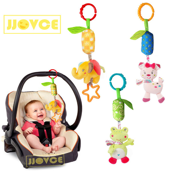 best selling JJOVCE Windbell Baby Stroller Hanging Bed Pendant Animal Plush Toys Round Bed Rattle Comfort Toy Newborn Baby