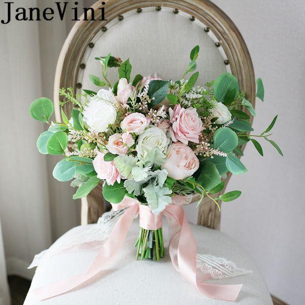 JaneVini Fresh Pink White Rose Bride Bouquet Green Leaf Wedding Flower Bouquet Bridal Flowers Artificial Brooch Evlilik Mariage