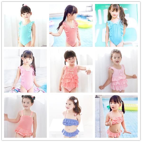 2020 2 ~ 12 años de niñas traje de baño lindo de los cabritos de impresión niños del bikini conjuntos de estilo colmena de los niños del traje de baño Gril desgaste de la playa al por mayor