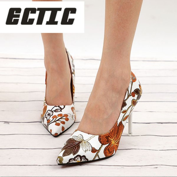 Shoes ECTIC Women Sexy Pumps High Heels Ladies Floral Printing Shallow Slip On Pointed Toe Office Female Fashion Footwear AE-20