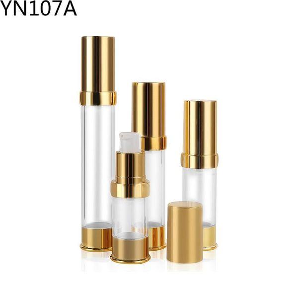 300pcs 10ml 15ml 20ml 30ml Clear Plastic Cosmetic Airless Bottle gold top Refillable Pump Dispenser Bottles For Travel Lotion cream jar