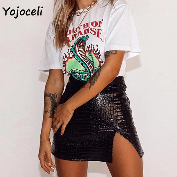 Yojoceli сексуальная искусственная кожа юбка нижняя женщины bodycon мини-юбка женское дно