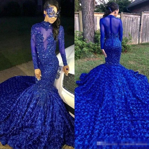 Luxury Long Tail Royal Blue 2019 Black Girls Mermaid Prom Dresses High Neck Long Sleeves Beaded Handmade Flowers Evening Party Gowns BC0749