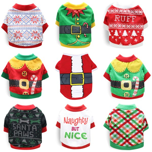 Cute Pet Dog Clothes Christmas Costume for Dogs Clothing Winter Dog Shirt Xmas Puppy Pet Clothes for Small Medium Dogs Apparel