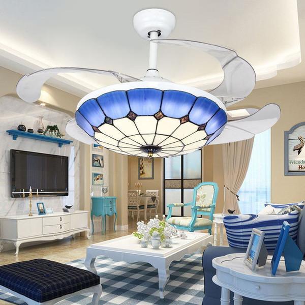 36W Tiffany lámpara de ventilador de techo azul multi color pantalla de vidrio colgante de luz control remoto tiffany colgante accesorio de luz paquete de espuma