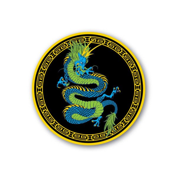 Chinese Dragon Blue & Green Sticker 100mm Water & Fade Proof Vinyl Laptop Car
