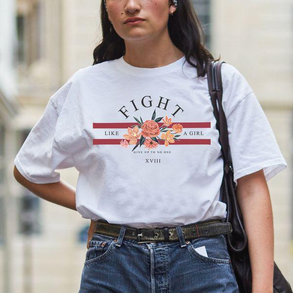 Camiseta blanca de moda Feminista Mujer Floral Impreso Camisetas personalizadas Diseñador estético Manga corta TopTees 2019 Verano Tumblr