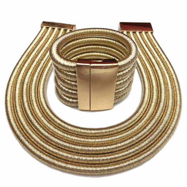 Hot Boho Collar Necklace Jewelry Sets Fashion Magnetism Button Multilayer Choker Necklaces Bracelets Set Women Bijoux