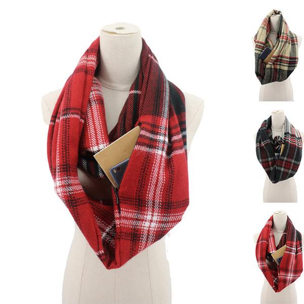 best selling Fashion Women Plaid Zipper Scarf Invisible Pocket Scarves Lady Plaid Neckerchief Winter Warm Wrap 3styles RRA1954