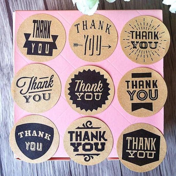 900pcs / lot Zakka handgemachte Art 9 Entwurfs-Weinlese-Kraftpapier danken Ihnen Kreis-Dichtungs-Aufkleber-Durchmesser 4cm runder Papierverpackungs-Aufkleber