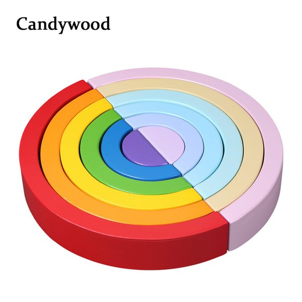 2019 New Colorful Wood Rainbow Building Blocks Toys Creative Assembling Wooden Blocks Circle Set Educational Toys For Children Y19051804
