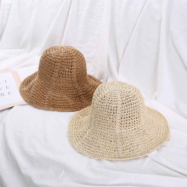 2019 New Korean Version Summer Straw Fashion Straw Hat Solid Color Foldable Outing Outdoor Visor Beach Hat