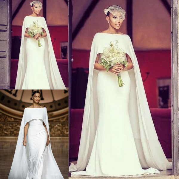 top popular Simple Long Cape Mermaid Wedding Dresses Elegant Bateau Bridal Gowns Simple Design Bridal Wedding Gowns Custom Made 2019