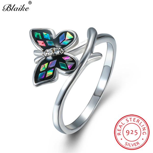 Mystic Rainbow Fire Crystal Butterfly Rings For Women Solid s925 Sterling Silver Ring Wedding Bands Zircon Engagement Ring Bride