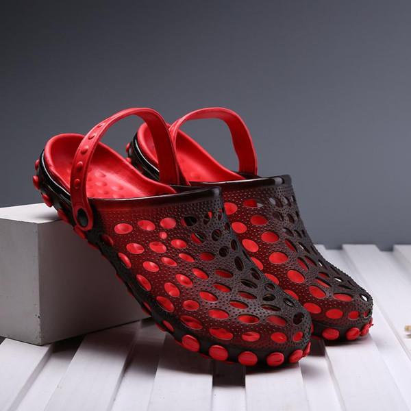 best quality designer sandals men's sandals breathable hollow outside flip-flops rubber garden Wading shoes hole shoes Jelly beach Slip