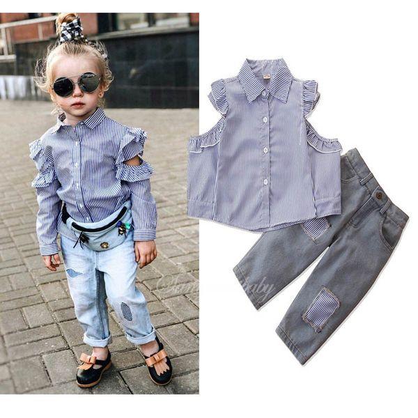 Trajes de moda para niñas, ropa de diseñador para niños, trajes de niñas, camisa a rayas + pantalones vaqueros, conjuntos para niños, ropa de boutique de otoño para niñas A7602