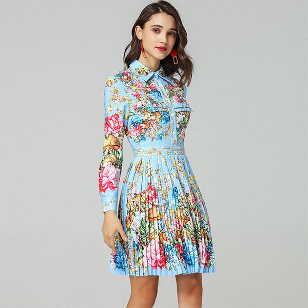 Compre Vestidos De Las Mujeres De La Nueva Moda Primavera Verano 2019 Collar Volteado Manga Larga Perforada Nail Pearl Recibido Lomo Impreso Plisado