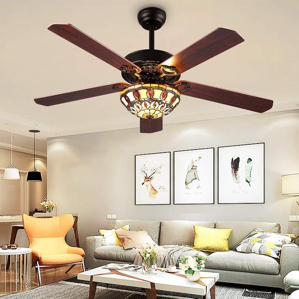 52-Zoll-moderne Deckenventilatoren führten Licht mit 5 hölzernen umschaltbaren Blättern für Wohnzimmer- / Schlafzimmer- / Esszimmer-Fernbedienung 3 Geschwindigkeit