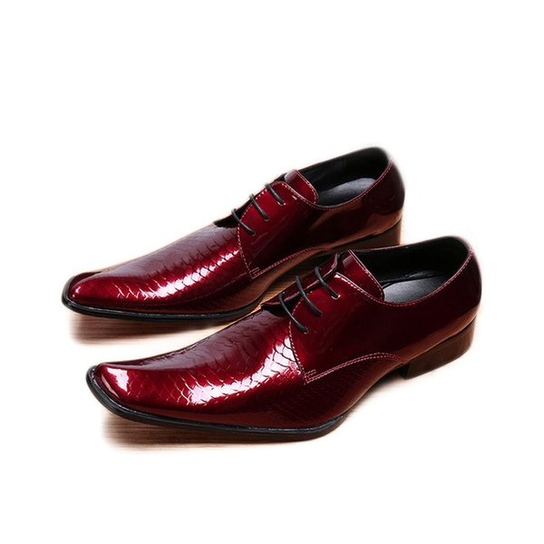 Luxus Männer Schuhe Formal Business Leder Kleid Schuhe Männer Schnür Weinrot Hochzeit Schuhe Männer Party