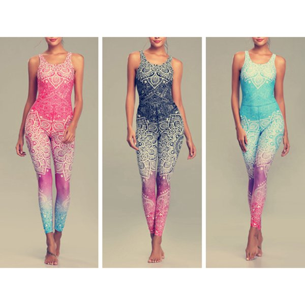 best selling Mandala Print Yoga Outfits Set Fitness Leggings Women Sports Running Suit Gym Wear Halter Vest Workout Elastic Quick Dry Yoga Sets ZZA1021