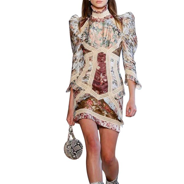 Vintage Print Dress For Women Stand Puff Sleeve High Waist Hollow Out Mini Dresses Female Fashion 2019 Summer