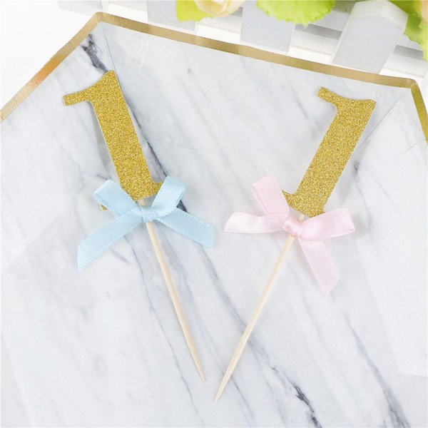 10PCS I AM ONE Year Gold Boy Girl 1 Anniversary Paper Supplies First Birthday Cupcake Toppers 1st Party Decorations
