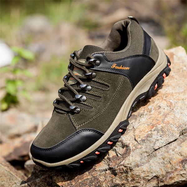 2019 hot sale dos homens ao ar livre respirável sapatos de trabalho resistente ao desgaste e anti-escorregadio sólidos homens de pesca sapatilhas sapatos de viagem de verão