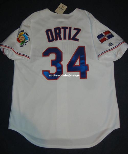 Ucuz Retro # 34 David Ortiz Majestic Dominik DÜNYA BEZBOL KLASİK Jersey Boston 06 Erkek Dikişli Beyzbol formaları