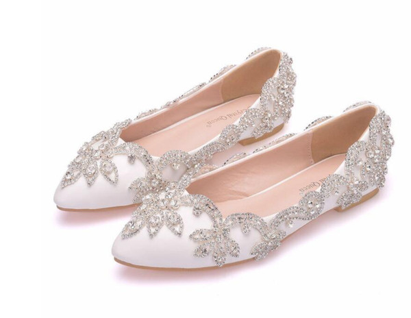 Fashion New White Flats Diamond Wedding Shoes Pointed Toe Shallow Mouth Bride Shoes Women's Party Low Heel Shoes