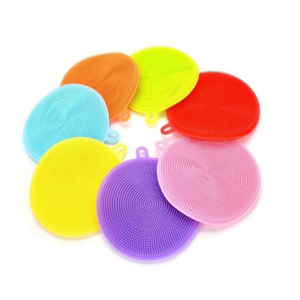 Silicone Sponge Scrubber Cleaning Antibacterial Kitchen Tool Silicone Dish Washing Brush Food Grade Clean Dishwashing Home Supplies 10 pcs