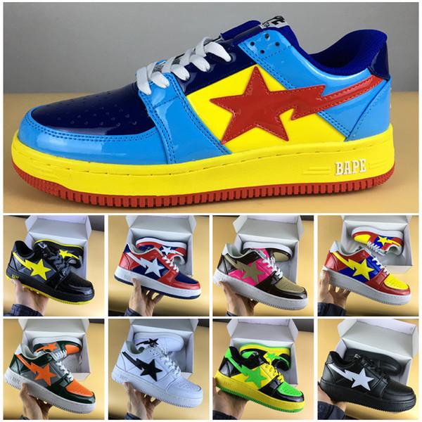 [Com Caixa De Sapato] clássica restauração sapatos de Skate Footsoldier BAPESTA couro emendado calçados esportivos de Alta Qualidade M ...