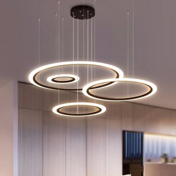 Moderno LED araña para sala de estar dormitorio restaurante accesorio de iluminación anillos negros lámpara colgante casa brillo con iluminación remota 90-265V