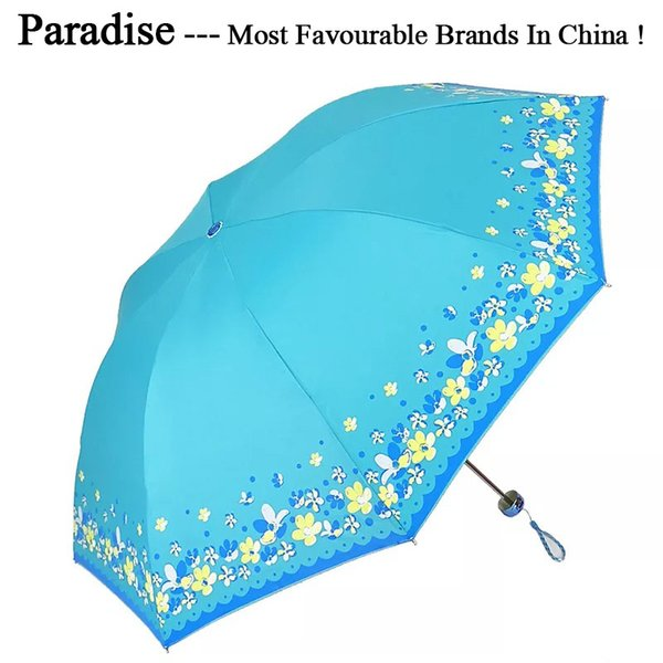 Windproof Travel Umbrella Waterproof Anti-UV Folding Stainless Steel Shaft Pongee Parasol Fabric Compact Wome Umbrellas Sun