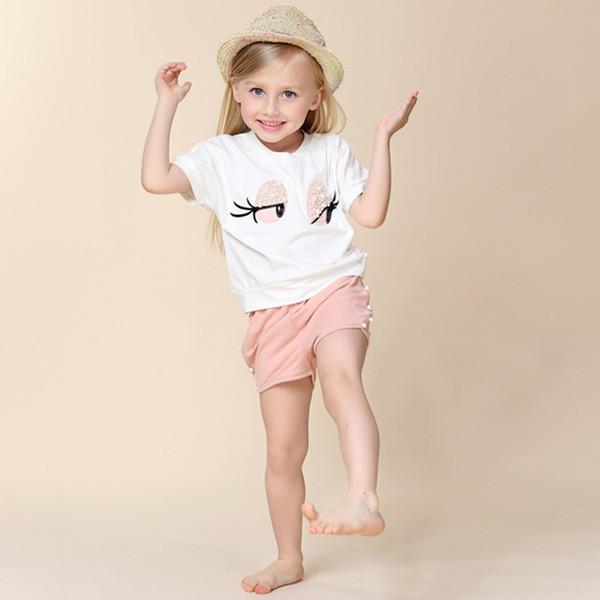 Детский костюм 2019 летний комплект детской одежды Lovely Long Eyasashes Toddler Girl tops Брюки Костюм для девочек Детская одежда