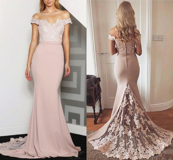 2020 New Cheap Peach Mermaid Bridesmaid Dresses For Weddings Off Shoulder Lace Appliques Plus Size Formal Maid of Honor Gowns Under 100