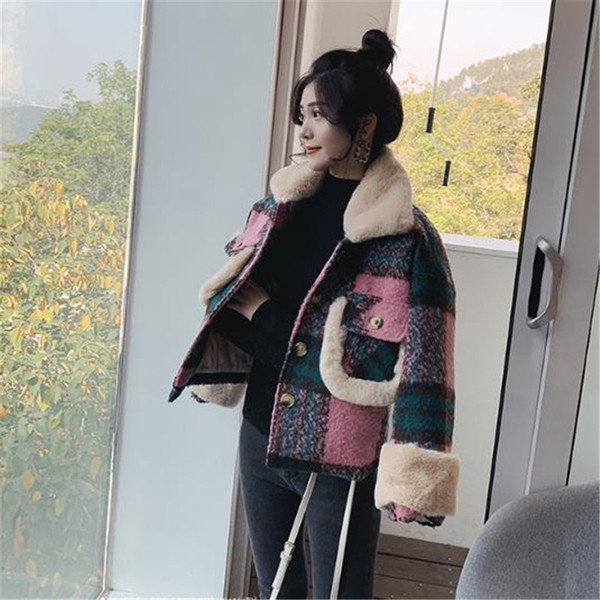 Short Coat for Womens 2018 Autumn Winter Plaid Woolen Outerwear High-end thick Wool Parka Student Jacket Female Casual Tops