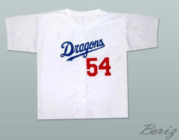 Minanser Chunichi Dragons Jack Elliot Mr. Baseball Movie Jersey 54 Mens All Stitched Jerseys White Blue S-3XL Free Fast Shipping