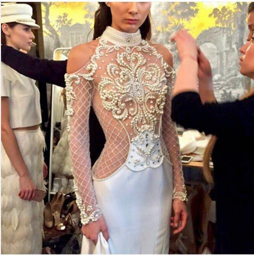 Evening dress Yousef aljasmi Labourjoisie Zuhair murad Trumpet High Collar Llong Sleeve White Satin Beaded Pearls Long Dress James_paul
